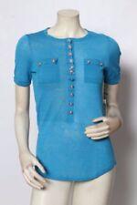 Maglie e camicie da donna a manica corta blu in lino