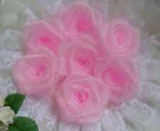 "1.5"" Light Pink Organza Ribbon Roses Flowers/ Appliques -Lots 24 Pcs(R0084K)"