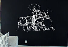 Drum set decal set Sticker Drums decor Music Rock'n'Roll Wall Art Stickers tr265