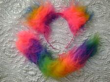 Rainbow Orejas Y Cola Larga Vestido Elaborado De Animales De Piel De Lujo Conjunto de Disfraz de arco iris