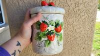 Vintage 1981 Sears Roebuck & Co Strawberry Ceramic Canister Sugar Jar Japan