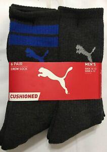 Puma  Cushioned 6-Pair Charcoal Gray Crew Socks with Gray/Blue Puma  -   (3411)
