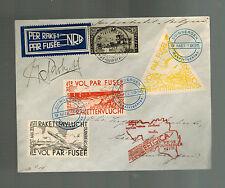1935 Duinbergen Belgium Rocket Mail Cover w/ Cinderella Perfs Roberti Signed