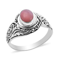 BALI LEGACY 925 Sterling Silver Pink Opal Solitaire Ring Jewelry Size 6 Ct 0.9