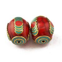 Resin Coral Turquoise Brass 2 Beads Tibetan Nepalese Ethnic Handmade UB2640