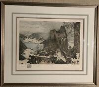 """LUIGI KASIMIR 1915 Etching """"Aggstein Castle"""" A.D. by Son RARE"""