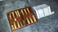 Vintage BACKGAMMON de voyage de luxe pions magnétiques marqueté - Prunier - TBE