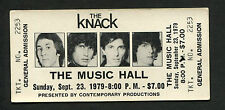 1979 Get The Knack Tour Unused Full Concert Ticket The Music Hall My Sharona