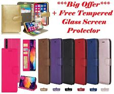 FREE Tempered + Case For Samsung A10 A20 A20e A30 A40 A50 A70 A80 Leather Book