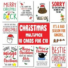 10 Pack Rude Christmas cards MIXED DESIGNS swearing adult humour xmas naughty