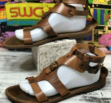 Maledetti Toscani Gladiator Sandals Brn Leather Handmade Womens Shoes 41 10-10.5
