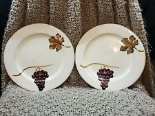 2 Tabletops Unlimited Villa Grande Hand Painted 12 1/2� Round Serving Plates Two