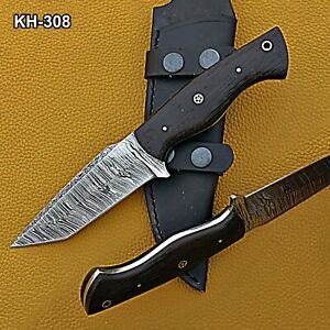 HK-308 Custom Hand forged Damascus Steel Hunting Knife with Wenge Wood