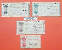 4 billetes con ANTEFIRMA BANCO DE BILBAO 5+25+50+100 PESETAS 1936 EUZKADI 1937 1