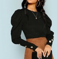 Black Puff Sleeve Long Sleeve With Button Detail Tee Top Casual Work