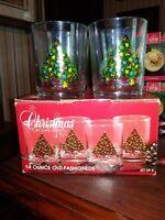SET of 4 VINTAGE CARLTON CHRISTMAS TREE OLD FASHIONED GLASSES w/ORIG BOX