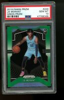 2019 Panini GREEN Prizm #249 Ja Morant Grizzlies Rookie Card RC PSA 10 Gem Mint
