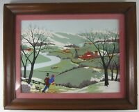 Vintage Primitive Folk Art Painting Americana Red Barn Farm Florence Gardner