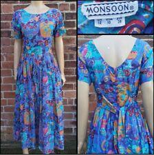 Fab 80s/90s Vintage Monsoon Cotton Crazy Novelty Print Button Back Summer Dress