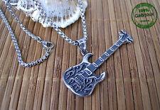 Collana in Acciaio Inossidabile Chitarra Guitar Musica Musicista Hard Rock Glam