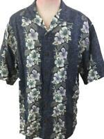 Tommy Bahama mens Hawaiian shirt size L large blue floral silk short sleeve
