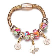 Bracciale donna dorato fiori farfalla / Flower Butterfly Pendants Bracelet #BD13