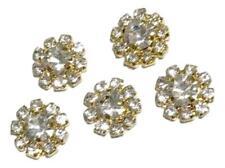 5 pcs. 12mm clear gold metal rhinestone flat back button headband centers DIY