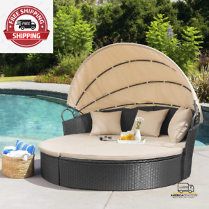 NEW  Outdoor Patio Round Daybed with Retractable Canopy for Backyard Pool Daybed