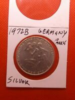 Germany 1972B Silver 10 Marks coin au/bu 091820