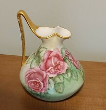 Porcelain Pitcher With Flowers By M Aplin