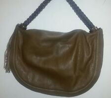 Amazing Rabeanco Taupe Leather Shoulder Bag Woven Leather Strap W/Tassels