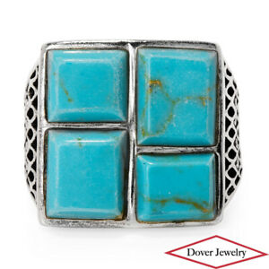 Estate Turquoise Sterling Silver Fancy Geometric Ring 8.0 Grams NR