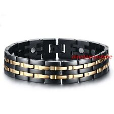 Mens Gold Black Titanium Steel Magnetic Health Therapy Care Energy Bracelet 15mm