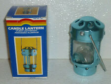 """Candle Lantern By StanSport Vtg But NEW In Box Aluminum Small Blue 4"""""""