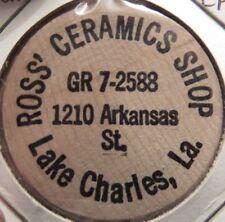 Vintage Ross' Ceramic Shop Lake Charles, LA Wooden Nickel - Token Louisiana