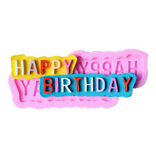DIY Happy Birthday Silicone Fondant Cake Chocolate Candy Mold Baking Mould FTUK