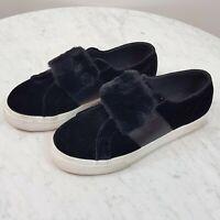 SUPERGA | Womens Black Velvet & Fur Sneakers Shoes [ EUR 37 ]