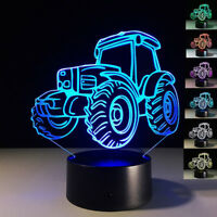 3D TRACTOR LAMP BEDROOM TOUCH NIGHT LIGHT 7 COLORS LED HOME DECOR GIFT SMART