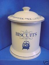 1869 VICTORIAN KITCHEN POTTERY COMPANY BISCUIT BARREL OR COOKIE JAR CREAM & BLUE