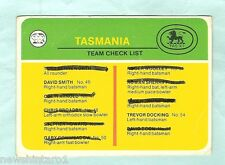 SCANLENS 1978 CRICKET CHECKLIST CARD, TASMANIA, CHECKED