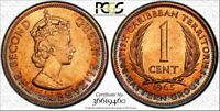 1965 EAST CARIBBEAN STATES 1 CENT PCGS MS63RD HIGH GRADED TONED 3 GRADED HIGHER