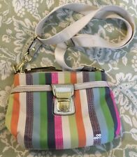 COACH MULTI POPPY LEGACY STRIPE SEQUINS SWINGPACK Crossbody Purse Bag 47064