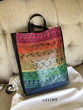 NWT Celine Snakeskin & leather Multi-Color RAINBOW Tote Bag $3100