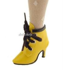 Shoes Boots for Ellowyne Wilde Doll Short Yellow Patent Custom Size Black Trim