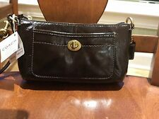 NWT Coach Brown Ergo Patent Leather Capacity Wristlet/Clutch #41966