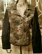 New Look Women's Camouflage Moto Jacket Faux Leather Sleeves - Size L