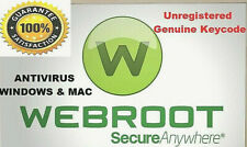 Webroot Secure Anywhere Antivirus 2020 -2Years -1 Dev Genuine unregistered Key
