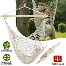 Hanging Rope Hammock Chair Swing Seat w/Wooden Stick 220lbs Load Indoor/ Outdoor