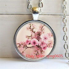 Vintage Sakura  Cabochon Tibetan silver Glass Chain Pendant Necklace #T67