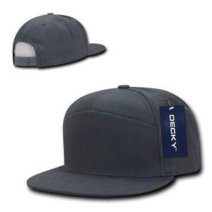 DECKY 7 Panel Cotton Snapbacks Snapback Flat Bill  Baseball Hats Cap Caps Unisex